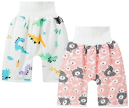 Happy Cherry Baby Trainingshose Sleepy Windelhose Auslaufsicherer Windel Shorts wasserdichte Hohe Taille Lernhose Windelunterwäsche für 4-8 Jahre 2 Pcs Bär/Dinosaurier