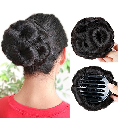 HANNE Hair Chignon Pony Tail Bun Artificial Synthetic Tress Claw In Ponytail Hair Extension Women's Hairpiece (Natural Black)