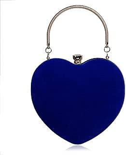 Redland Art Women's Fashion Love Heart PU Leather Clutch Bag Wristlet Shoulder Crossbody Evening Handbag Catching Purse Bag for Wedding Party (Color : Blue)