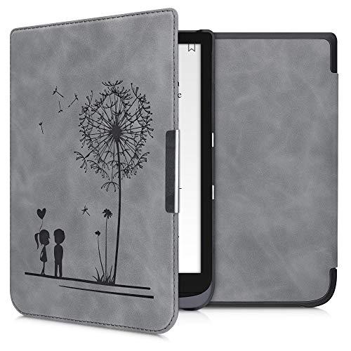 kwmobile hoes compatibel met Pocketbook InkPad 3/3 Pro/Color – Hoesje voor ereader in grijs – Paardenbloemen Liefde