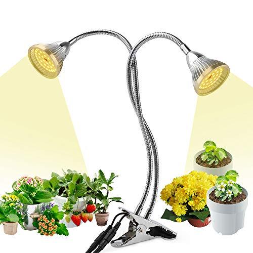 Pflanzenlampe LED, 60W Pflanzenlicht Pflanzenleuchte, 84LED Wachstumslampe Wachsen Licht Grow Lampe VOLLSPEKTRUM für Zimmerpflanzen,2 Köpfen, 360°flexiblen Schwanenhälsen, 2 Schalter