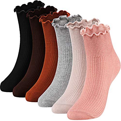 Women Ankle Socks Knit Cotton Lace Ruffle Socks Solid Color Casual Socks, 6 Pair (Black, Beige, Light Gray, Purplish Red, Skin Pink, Coffee)