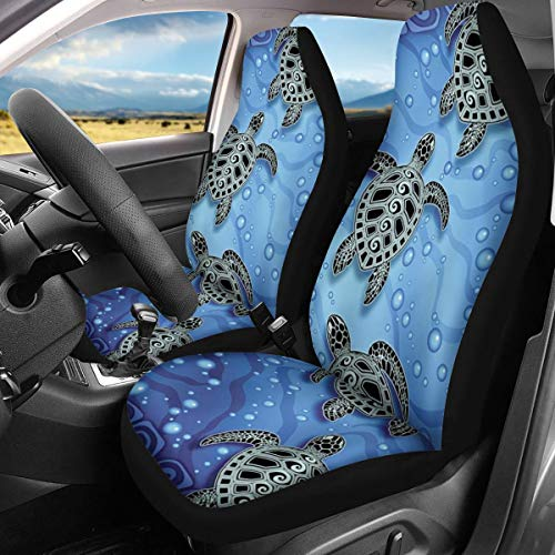 INSTANTARTS Ocean Animal Sea Turtle Print 2 Piece Universal Ultra-Soft Car Front Seat Protector Covers Fit Most Cars,SUV,Sedan,Van,Trucks (Blue)