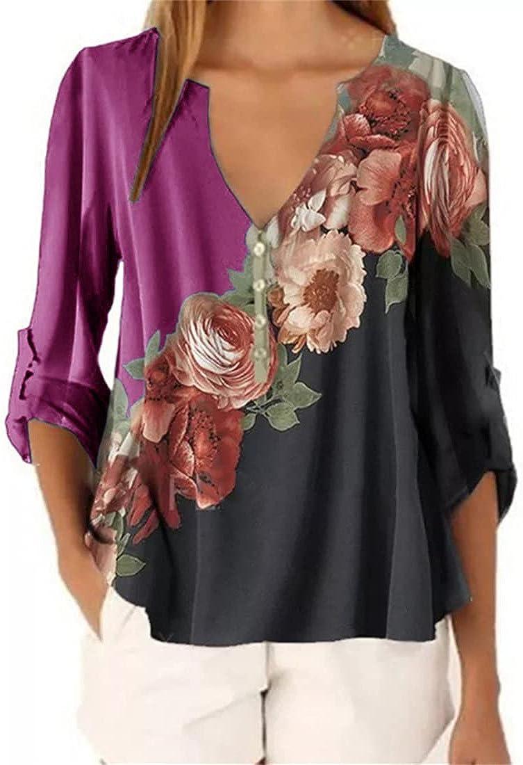 FRMUIC Women's Deep V Neck Floral Print Chiffon Shirt Retro Printing and Dyeing Multicolor Stitching T Shirt Top
