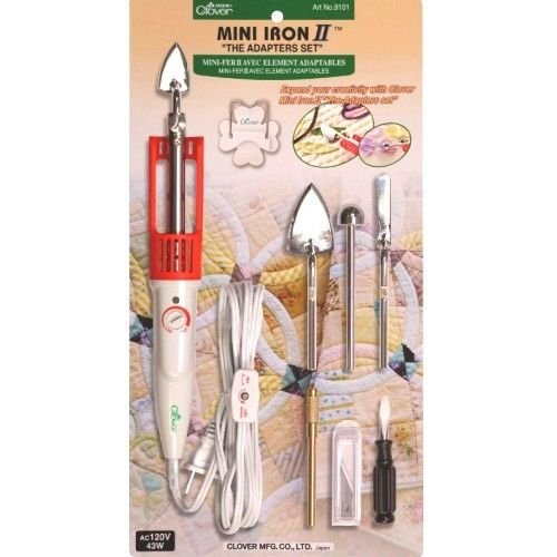 "Clover Mini Iron II""The Adapter Set"" for Sewing Quilting & Crafting #9101"