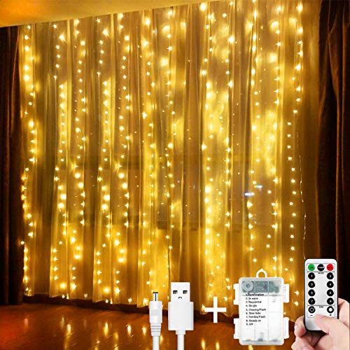 Led Curtain Fairy Lights 300 LEDs 3M*3M String Lights USB Operated Or Battery Powered 8 Modes With Remote &Timer, Waterfall Indoor Outdoor String Lights for Christmas,Wedding,Home Bedroom (warm white)
