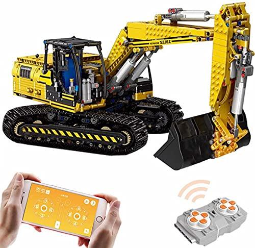 Technik Linkbelt Graafmachine, Technik Gemotoriseerde Rupsgraafmachine Technic op Afstand Bestuurbare Graafmachine met 6 Motoren en Afstandsbedieningskit Compatibel met Lego-Technologie