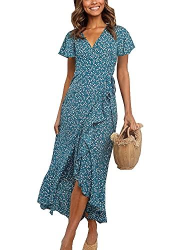 wrap dresses Imysty Womens Boho Floral Printed V Neck Wrap Dresses Short Sleeve Casual Beach Maxi Long Dress
