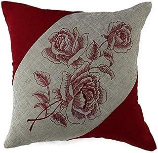 Funda de cojín almohada cojines del sofá cojines almohadas lino mezcla diseño bordado de rosas 38 x 38 cm beige/rojo