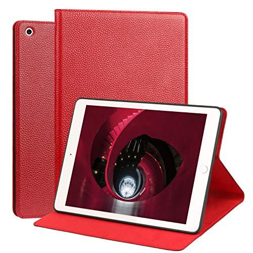 OUVOUV iPad 2018/2017 iPad 9.7 Zoll Hülle,Apple iPad Echt Leder Case Cover smart Rindsleder-Case Tasche Tablet-Case Schutzhülle mit Wake/Sleep Funktion & Standfunktion für iPad 9,7 Zoll,Weinrot
