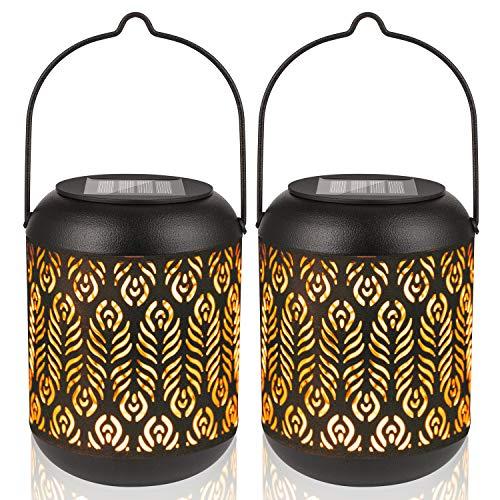 LeiDrail Solar Laterne für Außen 2 Stück LED Hängende Solarlampe Wasserdicht Gartenlaterne Laternen für Garten Terrasse Balkon Weg Dekoration