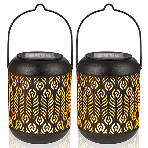 LeiDrail Solar Lantern Outdoor Garden Hanging Lanterns Metal Decorative Light Warm White LED Waterproof Landscape Lighting for Table Pathway Party Yard - 2 Pack