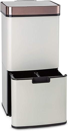 Klarstein Royal Trash Sensor-Mülleimer, 72 L Volumen in 4 Behältern, Restmüll & Recycling-Abfälle: 43 & 2 x 12,5 L, Bio-Eimer mit Deckel: 4 L,…