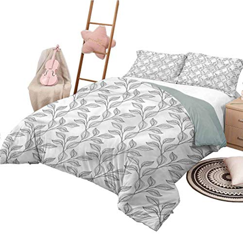 Nomorer Quilt Set King Size Black and White Custom Bedding Machine Washable Boho Leaves