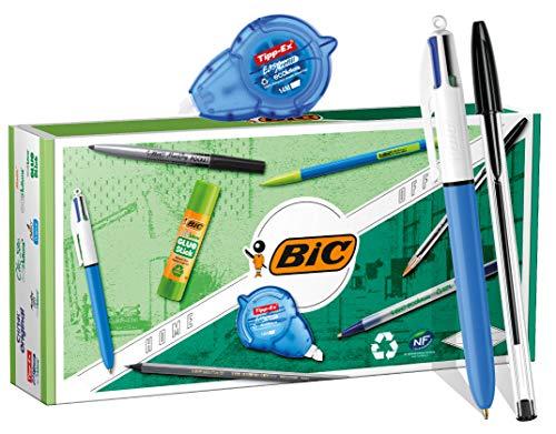 BIC Eco-Friendly Home & Office Juego de Escritorio Personal - 3Bolígrafos/1Lápiz grafito/1Portaminas/1Marcador permanente/1Cinta correctora/1Barra de pegamento - Caja de9
