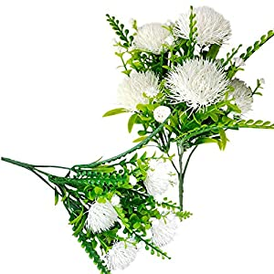 2Pack Artificial Dandelion Flower Fake Lily Fower Faux Plants Silk Spring Onion Flowers Ball Bouquets for Home Wedding Decoration Photography Props (White 2)