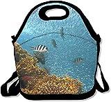 Underworld - Mochila infantil de neopreno para el almuerzo, diseño de pez y coral, con correa ajustable para el hombro