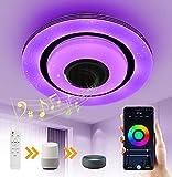 OTREN LED Deckenleuchte RGB mit Bluetooth Lautsprecher, Alexa Smart Lampen Deckenlampe mit Farbwechsel, WifiI Lampe Dimmbar mit Fernbedienung und APP-Steuerung, Alexa Google Home Kompatibel
