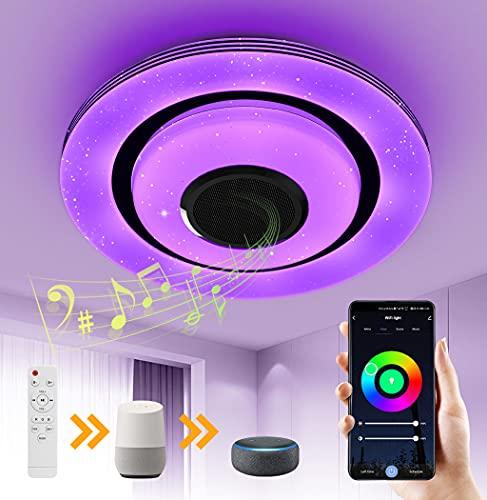 OTREN Plafon Led Techo RGB con Altavoz Bluetooth, Lámpara Led Techo Alexa Control con Remoto y Control de Aplicaciones, Luz Techo Moderno Regulable Compatible Alexa Google Home