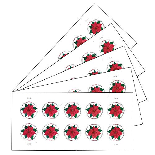 Global Poinsettia 5 Sheets of 10 International First Class Forever US Postage Stamps Mail Holiday Celebration Flower (50 stamps)