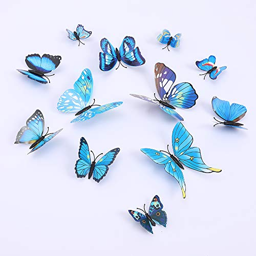 Butterfly Wall Decals 3D Butterflies Wall Stickers DIY Removable Mural Decals Home Decoration Kids Room Bedroom Decor Living Room Decor (Butterfly Blue)