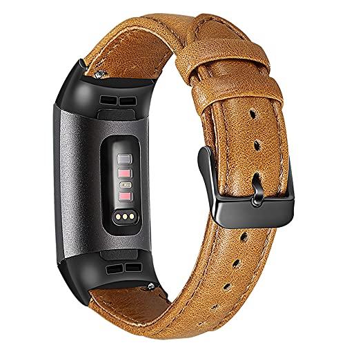 AISPORTS Compatible con Fitbit Charge 3 Correa/Fitbit Charge 4 Correa de cuero para mujeres y hombres, suave pulsera de cuero vintage, correa de repuesto para Fitbit Charge 3/Charge 4 Activity Tracker