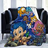 Bubble Guppies Cartoon Fleece Blanket Plush Throw Fuzzy Super Soft Reversible Microfiber Flannel Blankets for Couch, Bed, Sofa Ultra Luxurious Warm and Cozy for All Seasons (Throw Size 50x40 In)