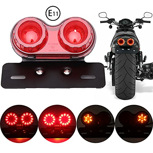 JMTBNO LED Moto Feu Arrière Clignotant Lumière, Feux Stop pour Moto, Feux de Support de Plaque D'immatriculation de Frein pour Custom Street Bike Cruiser Chopper Bobber