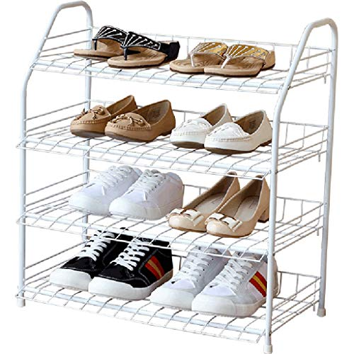 ZZYE Zapatero de metal blanco para zapatos, organizador de zapatos de gran capacidad, 12 pares, 4 niveles, 59,5 x 31,5 x 64 cm, organizador de zapatos