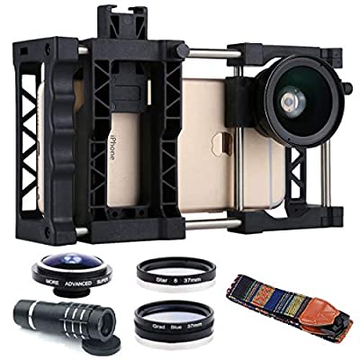 Fulvit Adjustable Mobile Phone Cage+Wide Angle Lens+Macro Lens+Belt+Telephoto Telescope+Fisheye Lens+Grad Blue Lens+Star 8 Lens, PAPHOTO for iPhone, Samsung, Huawei, Xiaomi, HTC and Other Smartphones by Fulvit