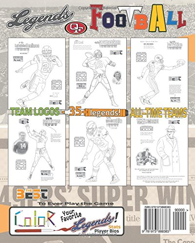 NFL Legends: The Ultimate Coloring, Activity and Stats Football Book for Adults and Kids (35 BEST BIOGRAPHY) (Volume 2)