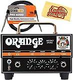 Orange MD20 Micro Dark 20-Watt Mini Guitar Amplifier Head Bundle with Instrument Cable and Austin Bazaar Polishing Cloth