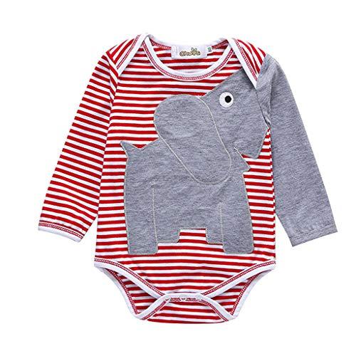 Julhold Barboteuse en coton pour bébé garçon Motif éléphant à rayures 0-3 ans - Rouge - 9-12 mois