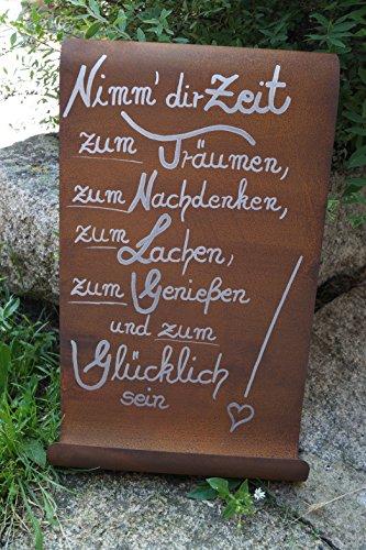 Dekostüberl Rostalgie Edelrost Tafel mit Welle Nimm dir Zeit.Gartendekoration Schild Metall