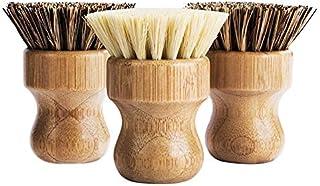 TOOGOO Pot Brush- Bamboo Round 3 Packs Dish Brush Natural Scrub Brush Durable Scrubber Cleaning Kit for Cleaning Pots, Pan...