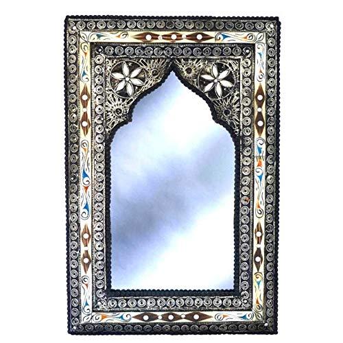 Espejo oriental de 80 x 50 cm, espejo de pared perfecto para tu pasillo o sala de estar, de madera maciza y decorado con metal noble, espejo perchero vintage oriental 510532