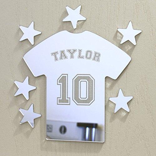 laserables Fußball Tshirt Spiegel Set personalisiert Tür Namen Plaque Boy Mädchen Bed Room Schild