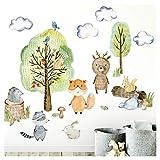 Little Deco Wandtattoo Waldtiere mit Bäume Pilze und Gras I M - 152 x 84 cm (BxH) I Wandsticker Babyzimmer selbstklebend Wandaufkleber Kinderzimmer Junge DL450