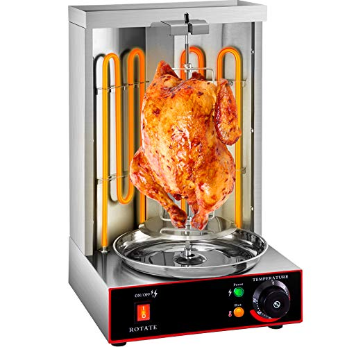 VEVOR Electric Gyro Machine, Temperature Adjustment Switch 50-300 ℃ Gyro Broilers, Stainless Steel Kebab Vertical Rotisserie, 2 Burners 3000W Electric Shawarma Machine for Home and Commercial Use