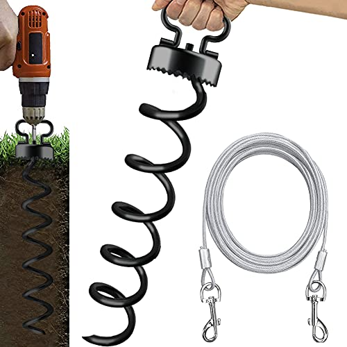 Eurmax Dog Tie Out Stake with Dog Tie Out Cable Spiral Heavy Duty Anchor Kit for Dogs Saw Teeth...