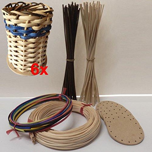 CSB-Center Korbflecht-Set [Nr.11] 6X Stifteköcher aus Peddigschiene - Bastelspaß zum Kindergeburtstag