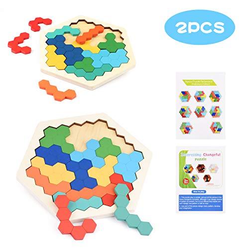 Herefun 2 Set Hexagon Madera Juguete, Tangram Educativo Montessori, Brain Teaser Rompecabezas, Juguete Geometría Lógica IQ Juego Regalo de Cumpleaños para Adolescentes Niños