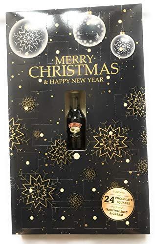 Calendario de Adviento para adultos, de Navidad, con bebida alcohólica Baileys de 50 ml y chocolate