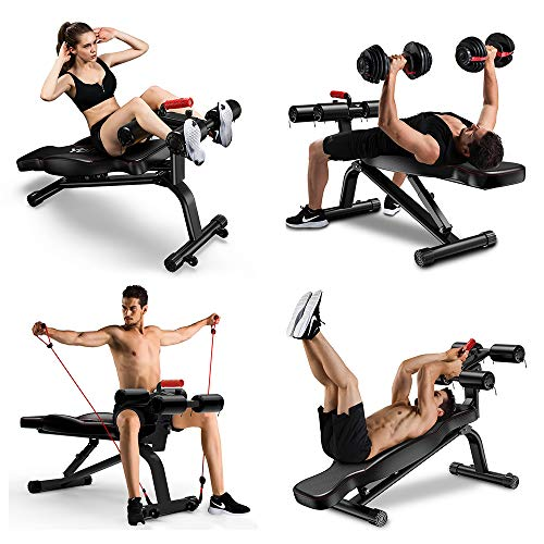 YOLEO Adjustable Weight Bench - Foldable Workout AB Bench for Home Gym, Incline/Decline/Flat Perfect for Bench Press, Sit-ups, Leg Lifts, Full Body Fitness