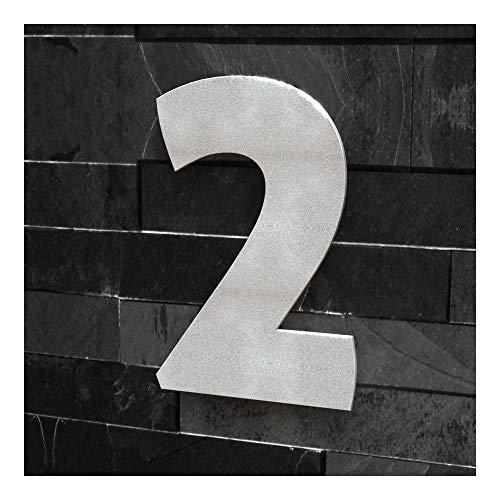 Colours-Manufaktur Hausnummer Nr. 2 - Schriftart: Modern - Höhe: 20-30 cm - viele Farben wählbar (RAL 9007 graualuminium (grau Aluminium Silber) glänzend, 20 cm)