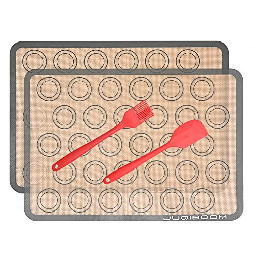 Silicone Baking Mat - Set of 2 Half Sheet (11 5/8' x 16 1/2'), 1 Scraper, 1 Oil brush - Non Stick Silicone Liner for Bake Pans & Rolling - Macaron/Pastry/Cookie/Bun/Bread Making