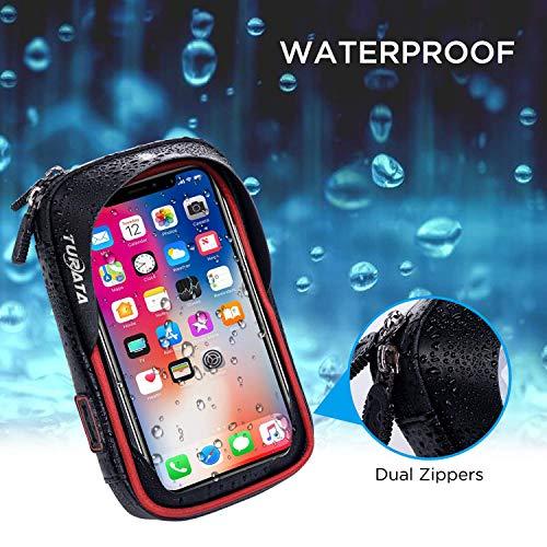 TURATA Fahrrad Lenkertasche Wasserdicht Rahmentaschen Multifunktional Motorrad Handyhalterung für 6″ Handy, Personalausweis, Bankkarte, Kopfhörer -Rot - 3