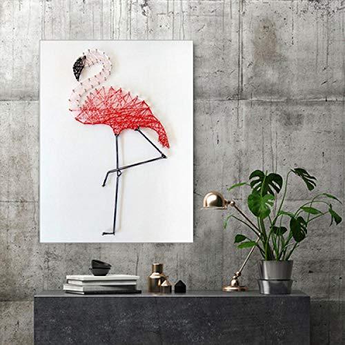sswyfc Flamingo handgemaakte garen schilderij frameloze nagel kronkelende lijn tekening DIY decoratieve schilderij 30 * 40cm