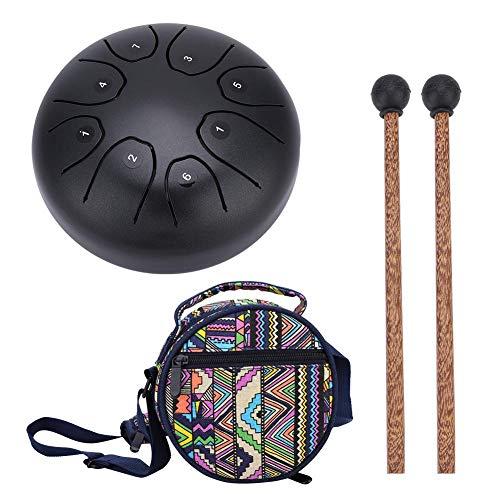 Stahl Hand Drum Tongue Trommel Schlaginstrument Handtrommel mit Schlagstock für Meditation Yoga Klangheilung(kaffee)
