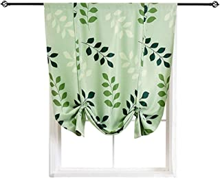 1 Panel Leaves Blackout Roman Shades Thermal Noise Insulated Tie Up Rod Pocket Small Window Curtains Treatments for Meeting Rest Room